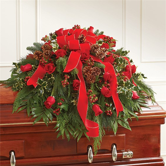1 800 Flowers 174 Half Casket Cover In Christmas Colors 1