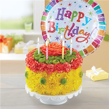 1800FLOWERS BIRTHDAY WISHES FLOWER CAKE YELLOW 1800Flowers