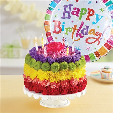 1800FLOWERS BIRTHDAY WISHES FLOWER CAKE RAINBOW 1800Flowers