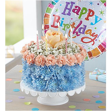 Birthday Wishes Flower CakeTM Coastal 166259lbz
