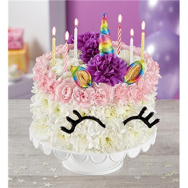 Birthday Wishes Flower CakeR Unicorn 174314x